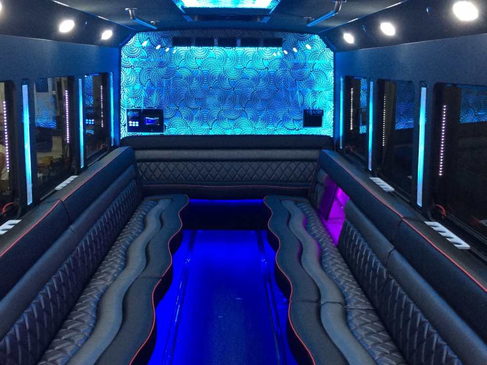 white party bus interior 2 - raleigh nc
